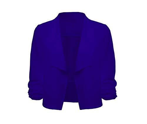 3 Ouvert Tops Chic Simple Bleu ete Vintage Femme Office Automne Avant Grande Sleeve Gilet Blazer Short 4 Courte Taille Work Cardigan pwq1fxzg