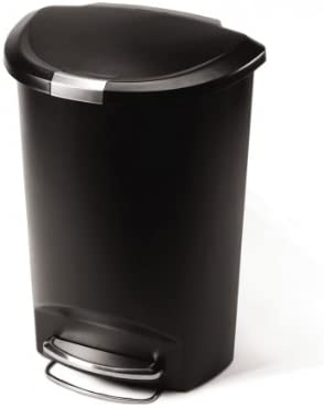 Delicieux Simplehuman 50 Liter/13 Gallon Semi Round Kitchen Step Trash Can, Black  Plastic With Secure Slide Lock