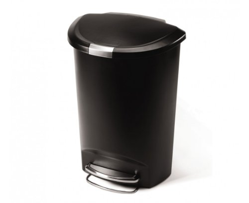 simplehuman 50 Liter / 13 Gallon Semi-Round Kitchen Step Trash Can, Black Plastic With Secure Slide - Cans Trash Step