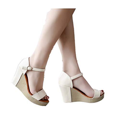 (Cenglings Women Casual Peep Toe Wedge Sandals Buckle Strap High Heel Platform Ankle Strap Shoes Waterproof Sandals)