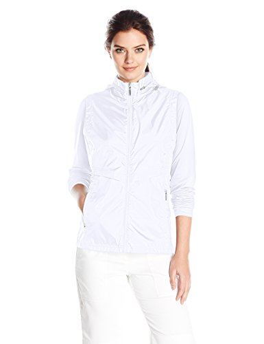 Cutter & Buck Mesh Pullover - Cutter & Buck Women's Moisture Wicking 50+ UPF Lightweight Ava Hybrid Zip Jacket, White, X-Large