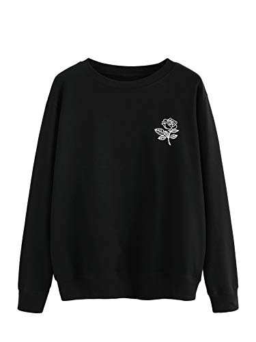 Crewneck Sweater Rose - SOLY HUX Women's Casual Floral Print Long Sleeve Round Neck Pullover Sweatshirt Black XL