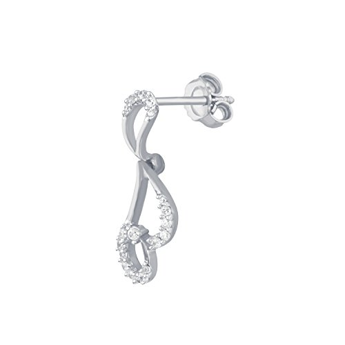 Giantti 14 carats Diamant pour femme Dangler Boucles d'oreilles (0.138 CT, VS/Si-clarity, Gh-colour)