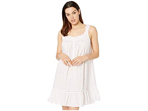 Floral Ruffled Chemise - Eileen West Women's Cotton Woven Lawn Sleeveless Short Chemise White Ground Daisy Geo Small