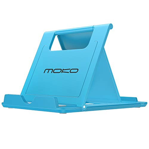 MoKo Cellphone/Tablet Stand, Foldable Multi-Angle Desktop Holder Fit Devices(6-11), Fit iPhone Xs/XS Max/XR/X/8 Plus/8, Galaxy S9/Note9, iPad Pro 11 2018, Nintendo Switch, Blue