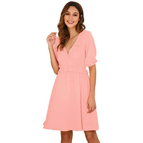 Fshinging Women Solid Color Mini Dress Short Sleeve Dress High Waist A-Line Dress Loose Ruffle Deep V-Neck Dress(Pink,S)