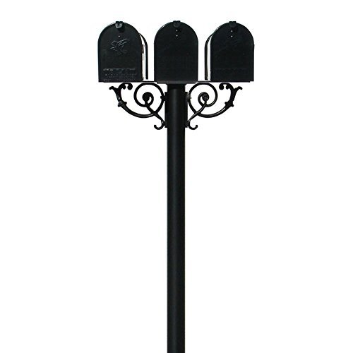 (The Hanford Cast Aluminum Triple Mailbox Post System  with 3 Economy Mailboxes, Mounting Brackets and Scroll Supports, Ships in 2 boxes )
