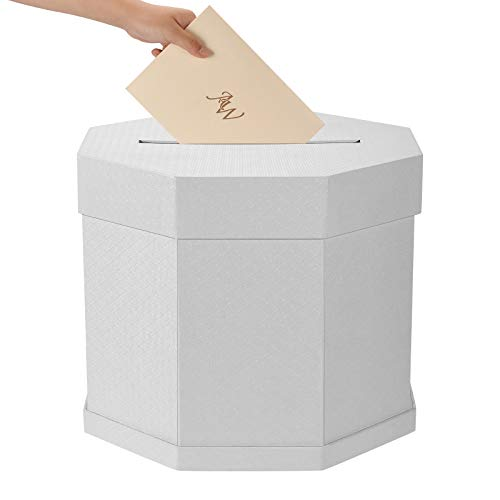 AW Wedding Card Box - Off White Gift Card Box Wishing Well Card Box for Weddings, Receptions, Birthdays, Graduations, Baby Showers, 11.26 x 11.26 x 9.84 Inches