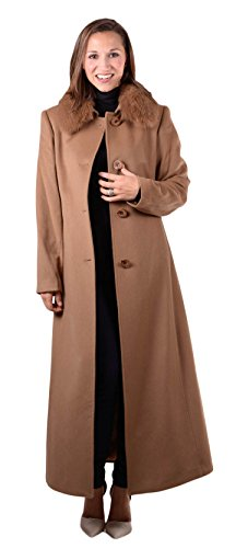 Fur Coat Brown Fox (Henig Furs 100% Cashmere Coat with Fox Fur Collar(Brown,18))