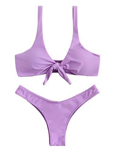 SweatyRocks Women's Sexy Bikini Swimsuit Tie Knot Front Ruched Solid Color Thong Bottom Swimwear Set Purple ()
