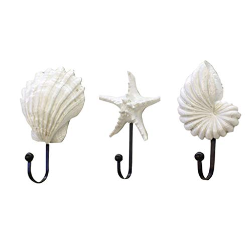 Resin Hanger,ZTY66 Shell Resin Mediterranean Style Sea Star Decor Scallop Conch Coat Hanger,Set of 3