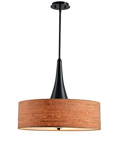 Kenroy Home 93013ORB Bulletin 3 Light Drum Cork Pendant Oil-Rubbed Bronze
