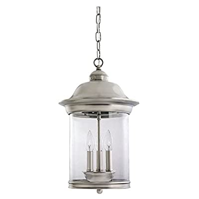 Sea Gull Lighting Three-Light Hermitage Outdoor Pendant, Clear Glass