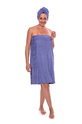 Price comparison product image Texere Women's Bamboo Spa Wrap Set (Kashmir Blue,  Small / Medium) Luxury Spa Bath Gifts for Her WB0103-KHB-SM