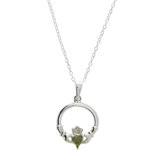 Irish Connemara Marble & Stainless Steel Claddagh Necklace