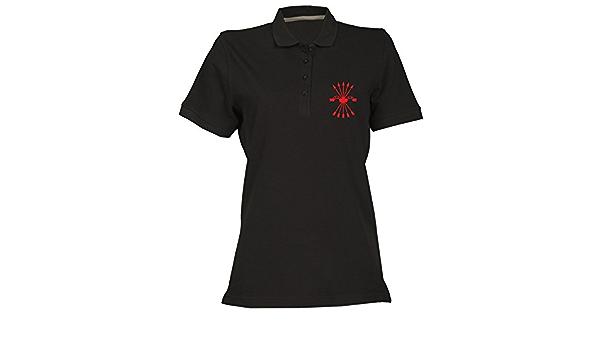 T-Shirtshock Polo para Mujer Negro TM0289 falange Spagna ...
