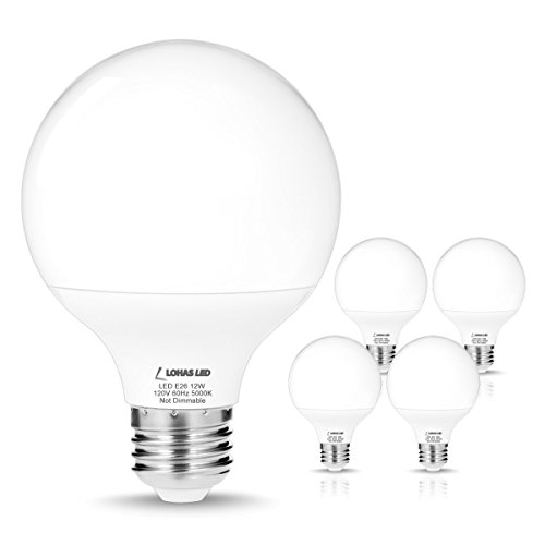 - LOHAS G25 Daylight 5000k LED Bulbs, 75W-100W Equivalent(12W Incandescent Bulbs Replacement), E26 Medium Screw Base, Globe Shape, 1200 Lumens, Non-Dimmable, Vanity Light Bulbs for Bedroom(4 Pack)