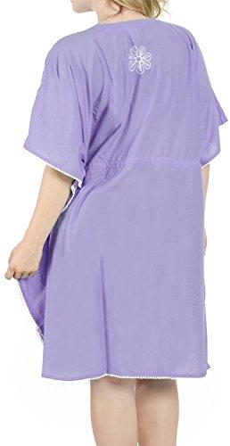 La Leela rayón súper suave bordado cordón del kimono floral 4 en 1 Playa de la libertad encubrir / túnica superior / loungewear / traje de baño básica vestido caftán hawaiano ocasional morado