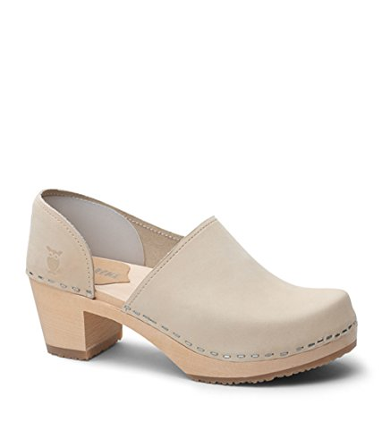 Sandgrens Swedish High Heel Wooden Clogs for Women | Brett Sand