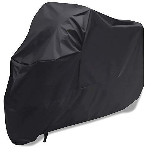 "Motorcycle Cover Waterproof Sunblock Dustproof Outdoor Garage Motor Cover with 3 Adjustable Buckles XXXL Fit up to 108"" Harley Davidson Honda Suzuki Kawasaki Yamaha Ducati KTM BMW(Black)"