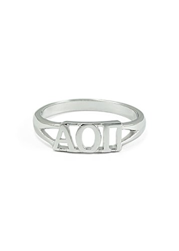 Sterling Silver Alpha Omicron Pi Ring with Cut-out Letters Size 7