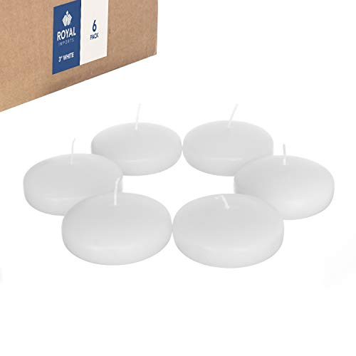 Royal Imports Floating disc Candles for Wedding, Birthday, Holiday & Home Decoration, 3 Inch, White Wax, Set of 6