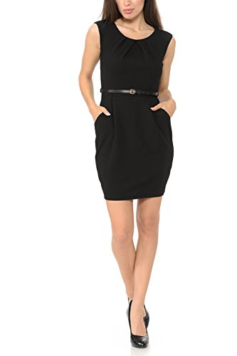 Auliné Collection Women's Color Office Workwear Sleeveless Sheath Dress Black 1XL