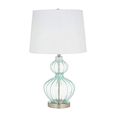 Ravenna Home Modern Table Lamp With LED Light Bulb -23.75 Inches, Brushed Nickel with Blue Glass - Beautiful blue glass and modern curves complement many décor styles Blue glass; metal base and finial with brushed nickel finish; white linen hardback shade LED bulb included - lamps, bedroom-decor, bedroom - 31LiXqxmt L. SS400  -