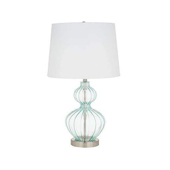 Amazon Brand – Ravenna Home Modern Table Lamp With LED Light Bulb -23.75 Inches, Brushed Nickel with Blue Glass - Beautiful blue glass and modern curves complement many décor styles Blue glass; metal base and finial with brushed nickel finish; white linen hardback shade LED bulb included - lamps, bedroom-decor, bedroom - 31LiXqxmt L. SS570  -