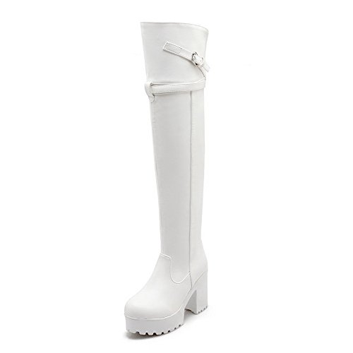 AmoonyFashion Women's Pull On Round Closed Toe High Heels Pu Solid Boots, White, 38 ()