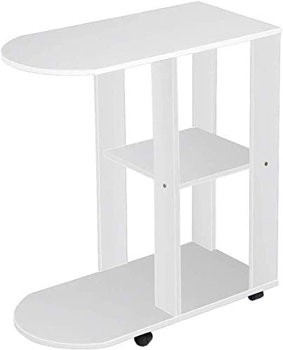 Redd Royal Small Mobile Black Side table End Table with Wheels for Living Room Sofa Bedroom Coffee Snack Table with Metal Frame and Rolling Castors