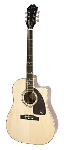 Epiphone AJ-220SCE Acoustic Electric Guitar, Natural - Ebony Rosewood Fretboard