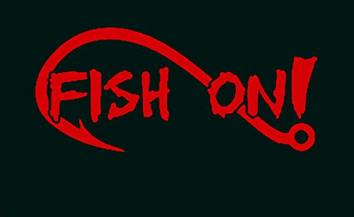 - A1154 Fish On Bass Fishing Decal Sticker (Red)