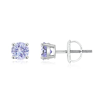 Angara Round Tanzanite Basket Earrings in Platinum AWVxqhs