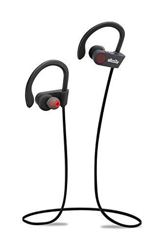 Bluetooth Headphones, allimity Wireless Stereo In-ear Sport Earbuds with Mic for iPhone 7 Plus, 7, 6s Plus, 6s, 6 Plus, 6, 5s, iPad Samsung Galaxy(Black)[Upgraded Version]