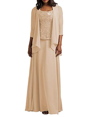 Chiffon Mother of The Bride Dress with Jacket Lace Prom Dress Formal Evening Gowns Long Plus Size Champagne US 30W