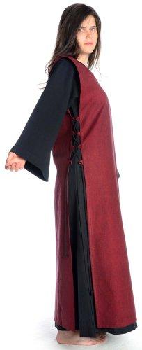 Kleid XL mit Mittelalter Leinenstruktur schwarz Skapulier mit dunkelrot HEMAD S schwarz Baumwolle Damen Damenkleid 0E4wn0qU