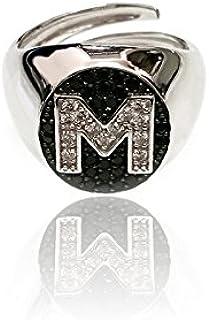 Anello ovale da mignolo in argento 925 con lettera personalizzabile in pavè di zirconi Maglione Gioielli 5656-s