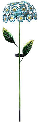 Sunset Vista Designs 92653 Blue Hydrangea Garden Stake, Solar Powered Light (Feeder Hummingbird Crackle)