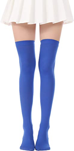 (Over Knee Long Striped Stockings Saint Patrick's Day Socks Costume Thigh High Tights(02 Blue stockings))