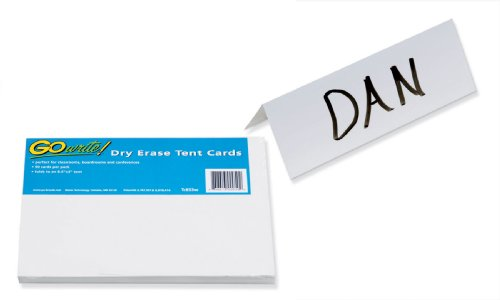 "GoWrite! Dry Erase Tent Cards, 8.5""x3"", 50 Pack (TC853W)"