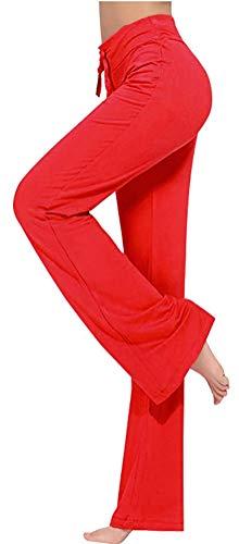 (ARJOSA Women's Drawstring Lounge Bootleg Yoga Pants Workout Dance Leggings (L, Red))