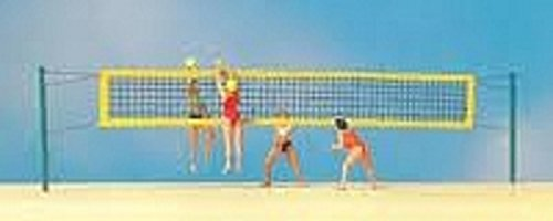 Beach Volleyball (Volleyball Net, 4 Players & 2 Balls) HO Scale Preiser Models