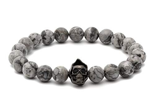 Multi Charm Stone (CORIRESHA Handmade Skull Charm Natural Stone 8mm Beaded Stretch Bracelet Multi Sizes and Colors)