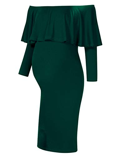 MissQee Women's Maternity Dress 3/4 Sleeve Off Shoulder Casual Maxi Dress (L,Green-Long)