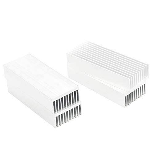 Senmod 4pcs Sliver Tone Aluminum Chipset Heatsink, 100x40x20mm Heat Sink Cooling Fin for High Power Amplifier Transistor Semiconductor
