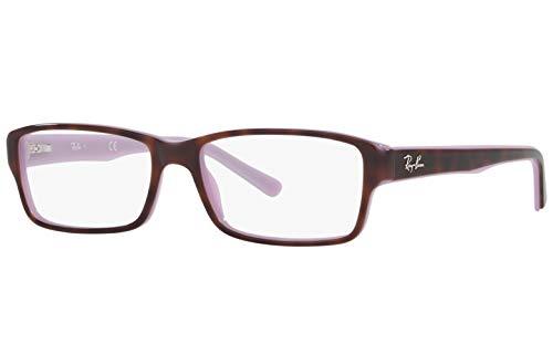 (Ray-Ban RX5169 Square Unisex Eyeglasses (Havana Opal Violet Frame 5240, 52))