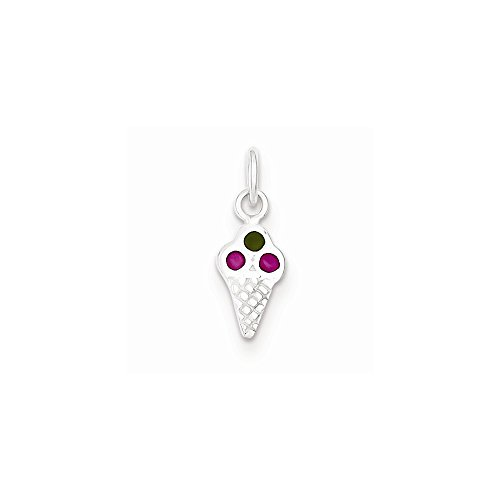 Sterling Silver Enameled Ice Cream Cone, Best Quality Free Gift ()