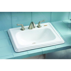 (Toto LT531.4#11 Promenade 22-1/2-Inch by 18-7/8Inch Self Rimming Lavatory Sink, Colonial White)