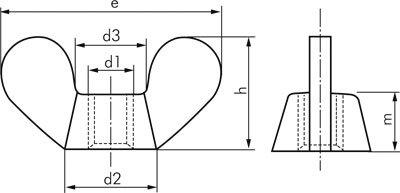 Temperguss verzinkt d1:M 10mm d2 DIN 315 M 10 max. max. Fl/ügelmutter :20mm d3 :16,5mm